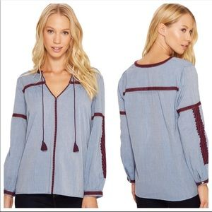Joie Chambray Embroidered tassel peasant top